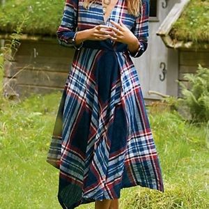 Anthropologie Sylvan Plaid Dress S